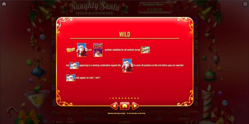 Naughty Santa Milk & Cookies :: Wild Symbol Rules