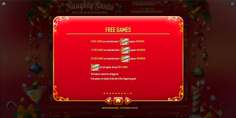 Naughty Santa Milk & Cookies :: Free Spin Feature Rules