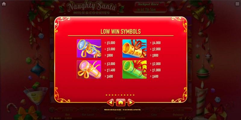 Naughty Santa Milk & Cookies :: Paytable - Low Value Symbols