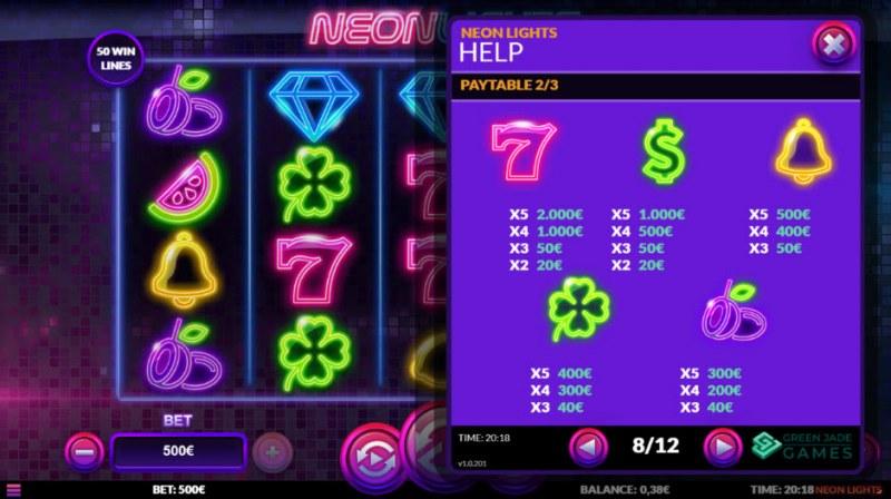 Neon Lights :: Paytable - Medium Value Symbols