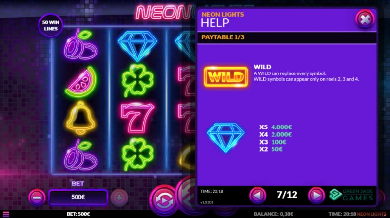 Neon Lights :: Paytable - High Value Symbols