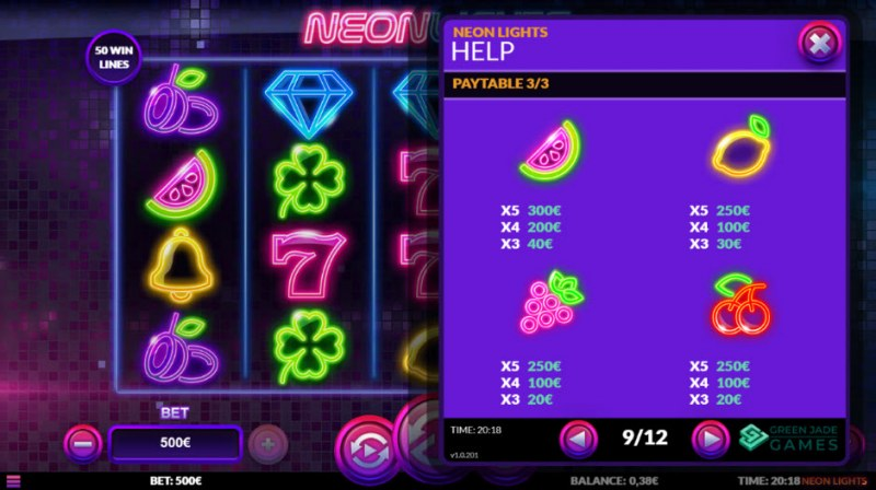 Neon Lights :: Paytable - Low Value Symbols