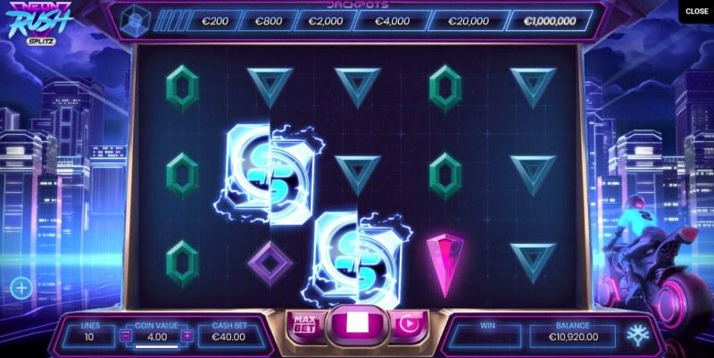 Neon Rush Splitz :: Mystery symbols appearing on reels will change into random symbols