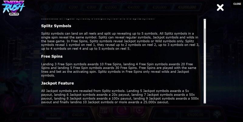 Neon Rush Splitz :: Feature Rules