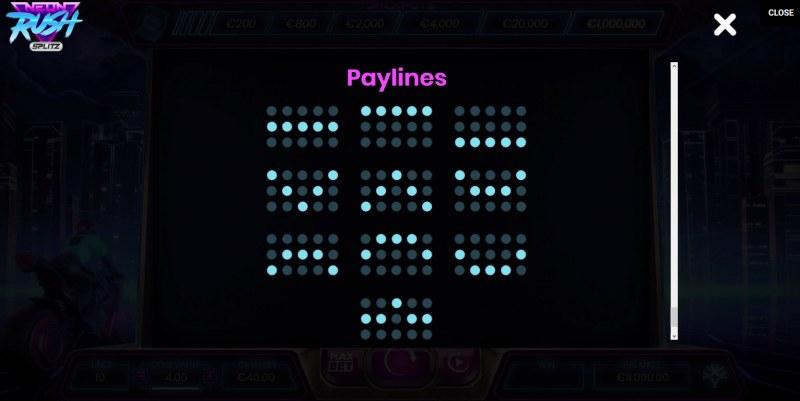 Neon Rush Splitz :: Paylines 1-10