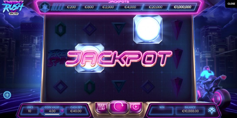 Neon Rush Splitz :: Jackpot activated