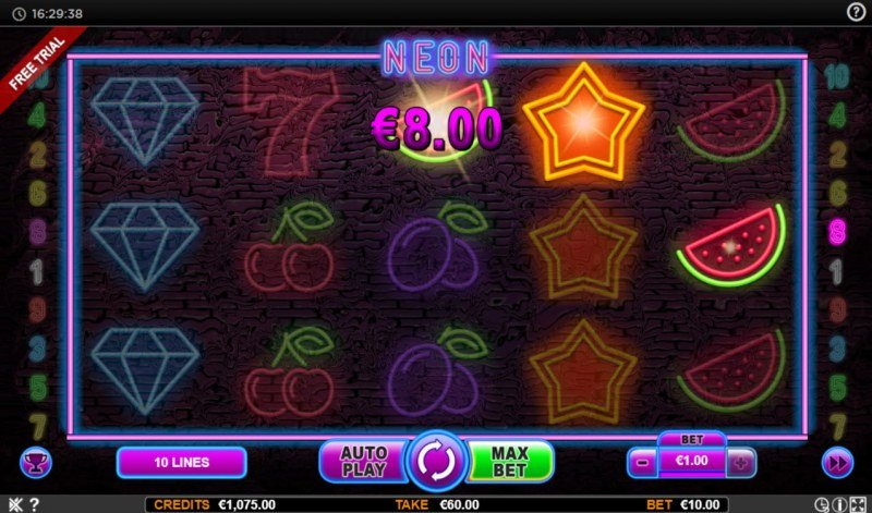 Neon :: A three of a kind win