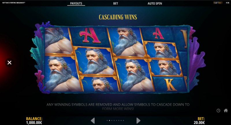 Neptune's Fortune :: Cascading Win Feature
