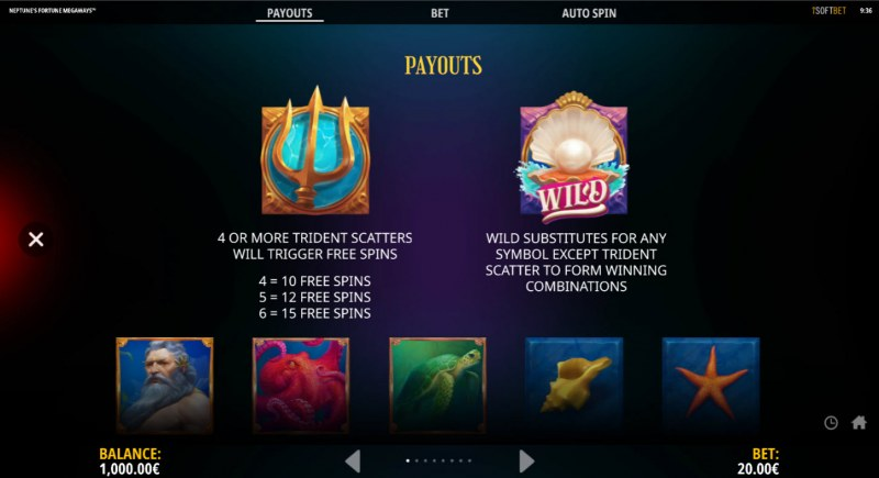 Neptune's Fortune :: Wild and Scatter Rules