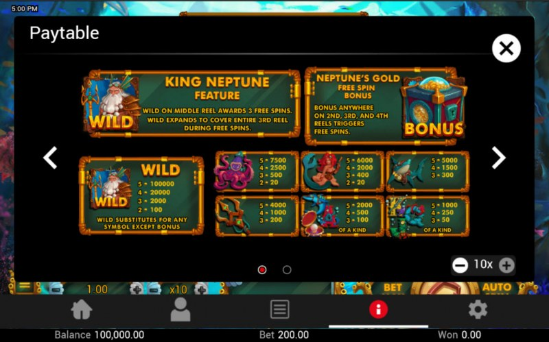 Neptune's Gold :: Paytable