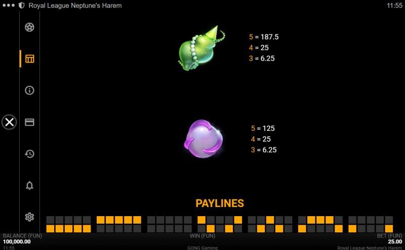 Neptune's Harem :: Paytable - Low Value Symbols