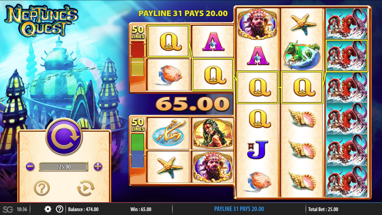 Neptune's Quest :: Stacked wilds triggers multiple winning paylines