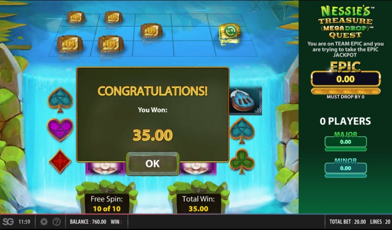 Nessie's Treasure Mega Drop Quest :: Total free spins payout