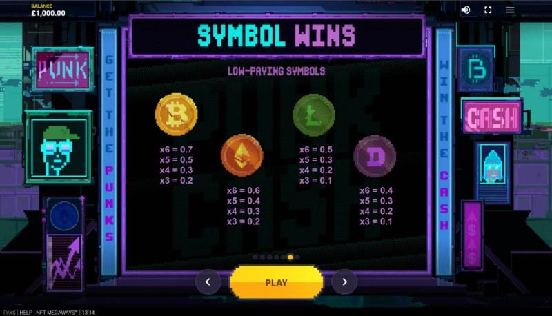 NFT Megaways :: Paytable - Low Value Symbols