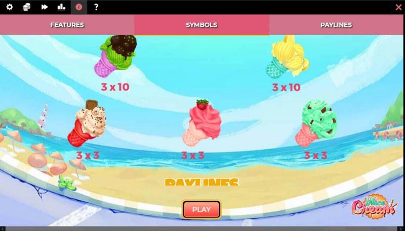Nice Cream :: Paytable - Low Value Symbols
