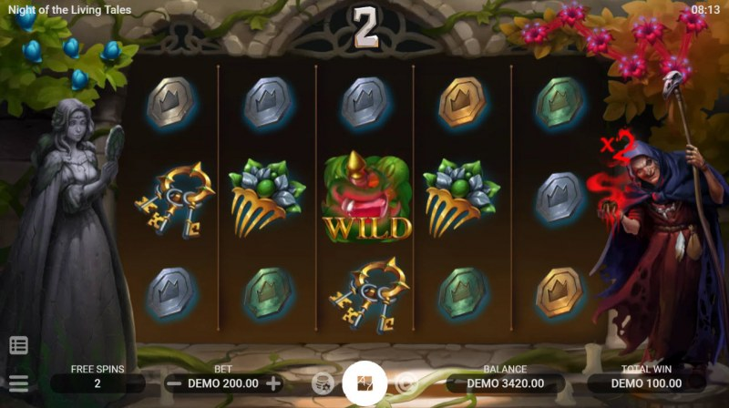 Night of the Living Tales :: Wild symbol increases multiplier
