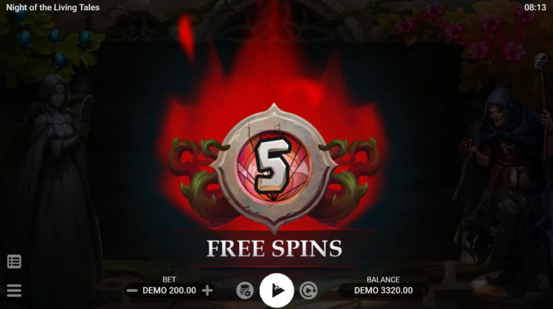 Night of the Living Tales :: 5 free spins awarded