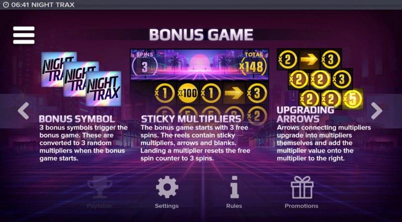 Night Trax :: Bonus Game