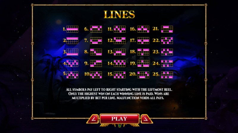 Nights of Egypt Expanded Edition :: Paylines 1-25