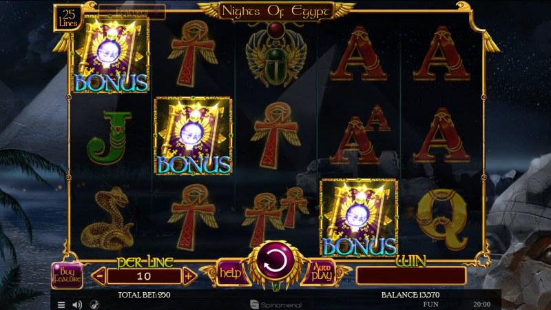Nights of Egypt :: Scatter symbols triggers bonus feature