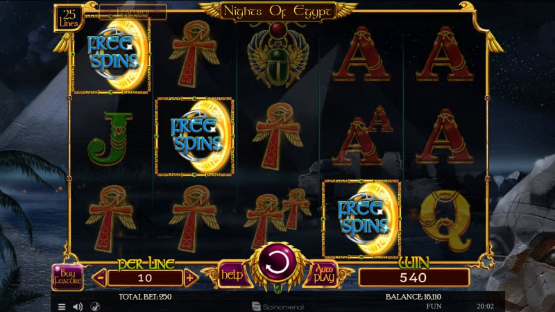 Nights of Egypt :: Scatter symbols triggers the free spins feature