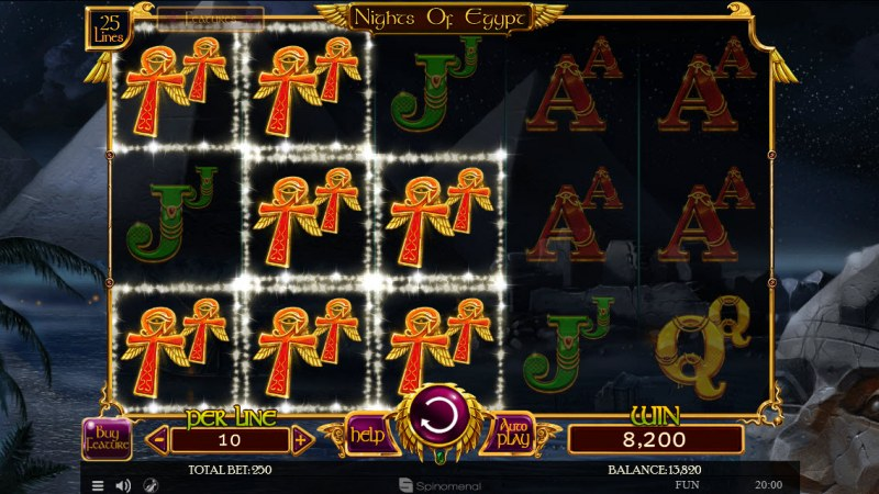 Nights of Egypt :: Doubled symbols leads to multiple winning paylines