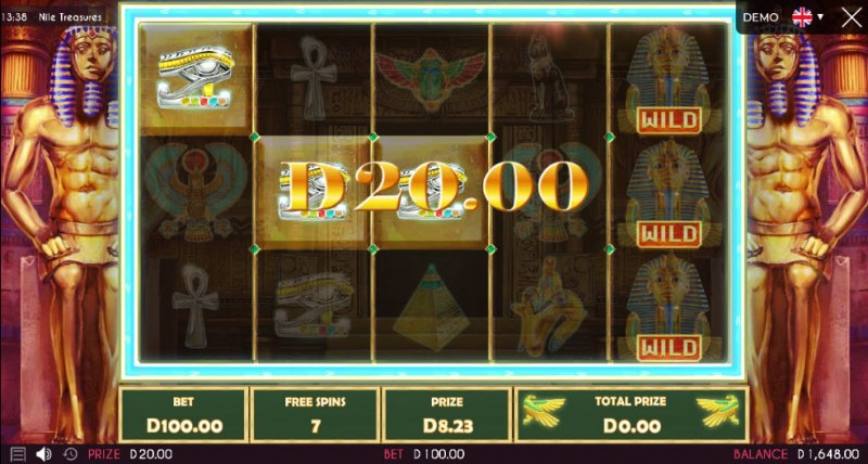 Nile Treasures :: Free Spins Game Board