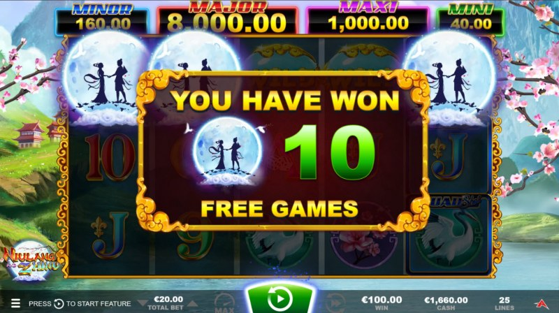 Niulang and Zhinu Quad Shot :: Scatter symbols triggers the free spins bonus feature