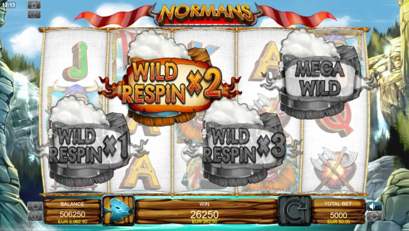 Normans :: Wild Respin with X2 win multiplier awarded