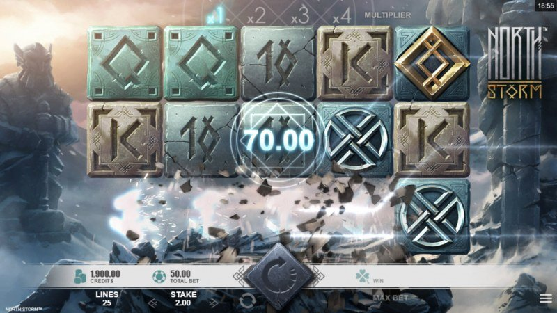 North Storm :: Winning symbols are removed from the reels and new symbols drop in place