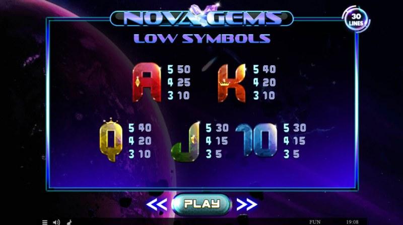 Nova Gems :: Paytable - Low Value Symbols