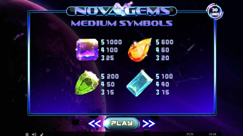 Nova Gems :: Paytable - High Value Symbols
