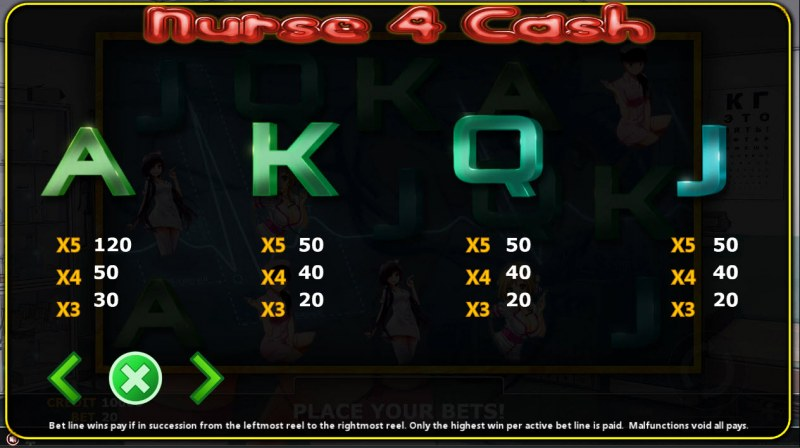 Nurse 4 Cash :: Paytable - Low Value Symbols