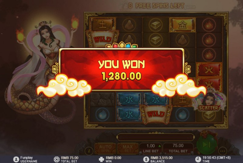 Nuwa and the Five Elements :: Total free spins payout