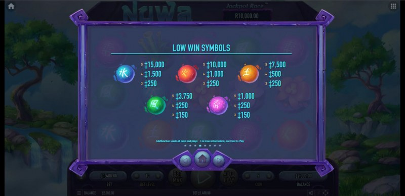 Nuwa :: Paytable - Low Value Symbols