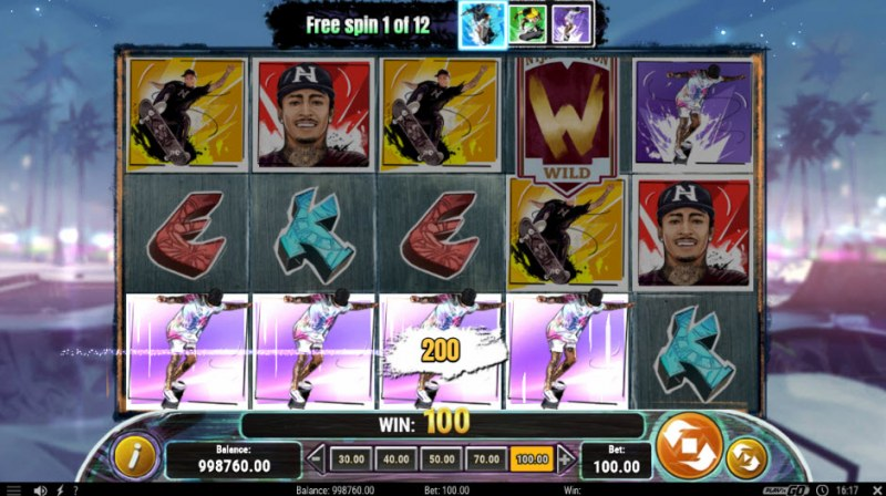 Nyjah Huston Skate for Gold :: Free Spins Game Board