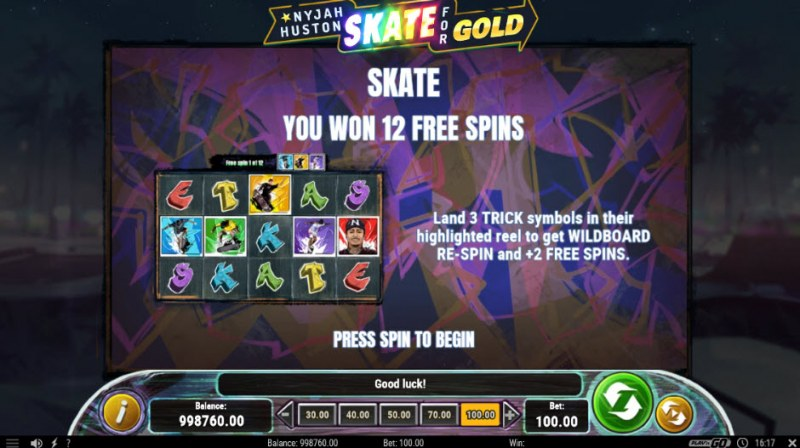 Nyjah Huston Skate for Gold :: 12 Free Spins Awarded