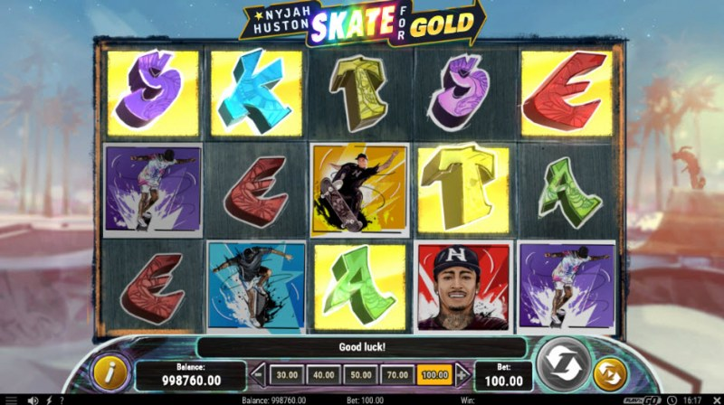 Nyjah Huston Skate for Gold :: Scatter symbols triggers the free spins feature