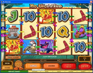 Casino Action featuring the Video Slots No Worries with a maximum payout of $12,500