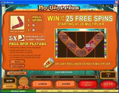 Nostalgia Casino featuring the Video Slots No Worries with a maximum payout of $12,500