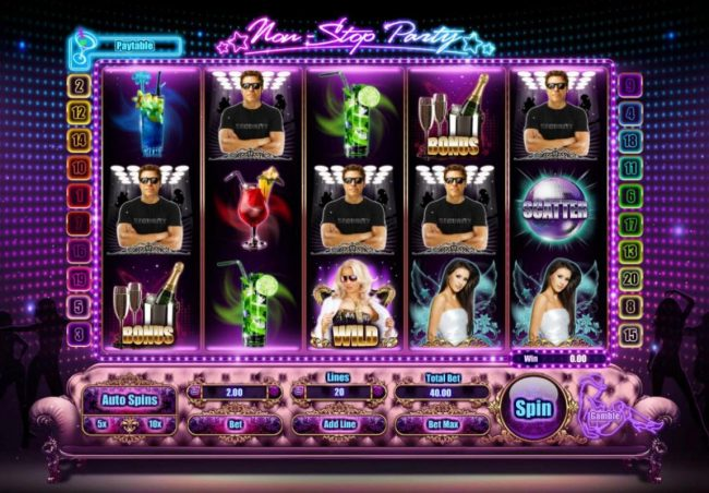 Lota Play featuring the Video Slots Non-Stop Party with a maximum payout of $4,000