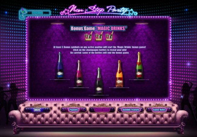 Come On featuring the Video Slots Non-Stop Party with a maximum payout of $4,000