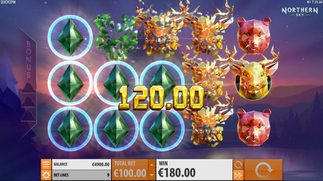 Play slots at Casumo: Casumo featuring the Video Slots Northern Sky with a maximum payout of $36,000