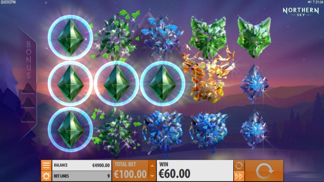Chanz featuring the Video Slots Northern Sky with a maximum payout of $36,000