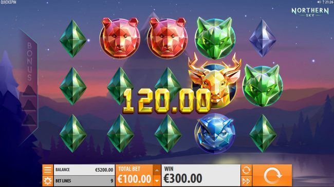 Fruity Casa featuring the Video Slots Northern Sky with a maximum payout of $36,000