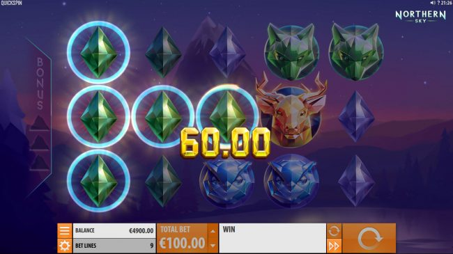 Money Reels featuring the Video Slots Northern Sky with a maximum payout of $36,000