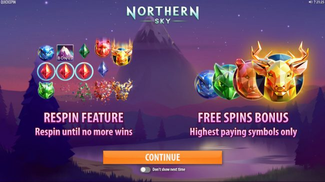 Energy featuring the Video Slots Northern Sky with a maximum payout of $36,000