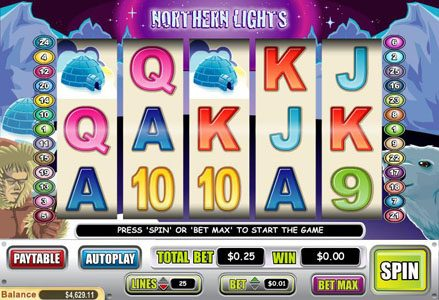 Play slots at Liberty Slots: Liberty Slots featuring the Video Slots Northern Lights with a maximum payout of $60,000