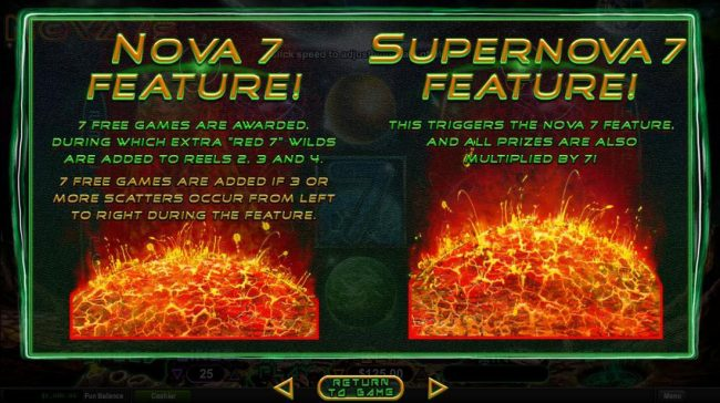 Nova 7 and Supernova 7 Free Games Rules