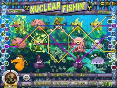 Royal Planet featuring the Video Slots Nuclear Fishin' with a maximum payout of $1,875